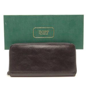 NWT DOPP Zip Around Passport Case Black Leather